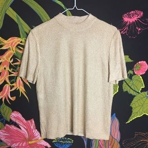 ST JOHN / Gold Knit Sweater Blouse